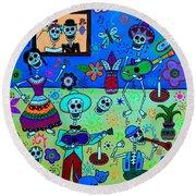Round Beach Towel featuring the painting Fiesta Calaveras IIi by Pristine Cartera Turkus
