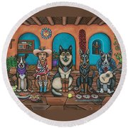 Fiesta Dogs Round Beach Towel