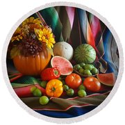 Round Beach Towel featuring the painting Fiesta Fall Harvest by Marilyn Smith