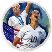 Round Beach Towel featuring the painting Fifa World Cup U.s Women Soccer Carli Lloyd Abby Wambach Artwork by Sheraz A