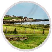 Fife Coastal Pathway Leading To Pittenweem Round Beach Towel by MaryJane Armstrong