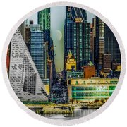 Round Beach Towel featuring the photograph Fifty-seventh Street Fantasy by Chris Lord