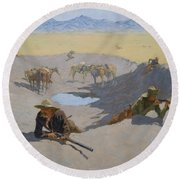 Fight For The Waterhole Round Beach Towel