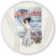 Fight Or Buy Bonds Round Beach Towel