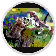 Fighting Cats Round Beach Towel by Charles Shoup