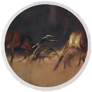 Fighting Stags I. Round Beach Towel