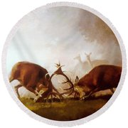 Fighting Stags II. Round Beach Towel