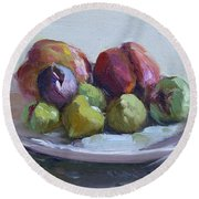 Figs And Peaches Round Beach Towel