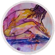 Figurative Abstract Nude 7 Round Beach Towel by Judi Goodwin