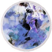 Round Beach Towel featuring the painting Figurative Dance Art 509w by Gull G