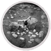 Figurative Holga Tryptich 3 Round Beach Towel