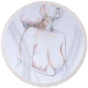 Figure Study Profile 1 Round Beach Towel