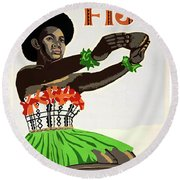 Fiji Restored Vintage Travel Poster Round Beach Towel