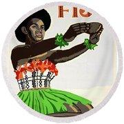 Fiji Restored Vintage Travel Poster Round Beach Towel