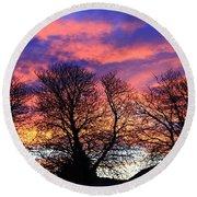 Round Beach Towel featuring the painting Filigree Sunset by Nareeta Martin