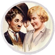 Film Fun Classic Comedy Magazine Featuring Charlie Chaplin And Girl 1916 Round Beach Towel