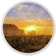 Round Beach Towel featuring the photograph  Finale  by John Harding
