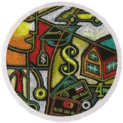 Finance And Medical Career Round Beach Towel by Leon Zernitsky