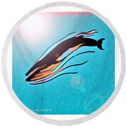 Finback Diving Through Krill Round Beach Towel
