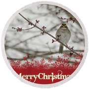 Round Beach Towel featuring the mixed media Finch Christmas by Trish Tritz
