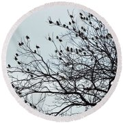 Finches To The Wind Round Beach Towel