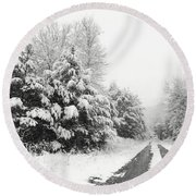 Round Beach Towel featuring the photograph Find A Pretty Road by Lori Deiter