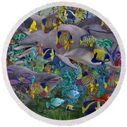 Find The Sea Dragon Round Beach Towel by Betsy Knapp