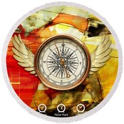 Round Beach Towel featuring the mixed media Finding Direction by Marvin Blaine