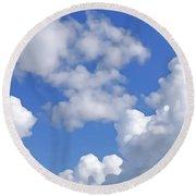 Round Beach Towel featuring the digital art Finding Focus Sky by Francesca Mackenney