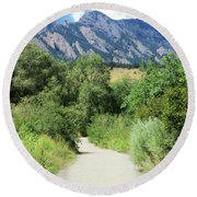 Round Beach Towel featuring the photograph Finding The Flatirons by Marilyn Hunt