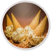 Fine Art Ice Cream Cone Spill Round Beach Towel