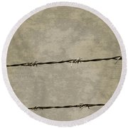 Fine Art Photograph Barbed Wire Over Vintage News Print Breaking Out  Round Beach Towel