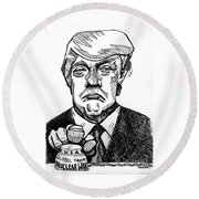 Finger On The Button Round Beach Towel by Robert Yaeger