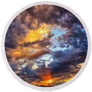 Finger Painted Sunset Round Beach Towel