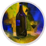 Round Beach Towel featuring the painting One Last Glass Before Bed by Lisa Kaiser
