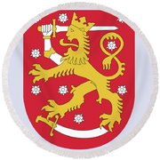 Round Beach Towel featuring the drawing Finland Coat Of Arms by Movie Poster Prints