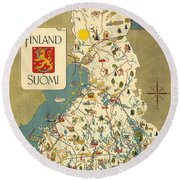 Finland - Suomi - Vintage Illustrated Map Of Finland - Historical Map - Cartography Round Beach Towel