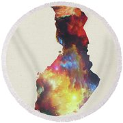 Finland Watercolor Map Round Beach Towel