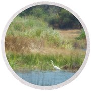 Finnon Lake Egret Round Beach Towel
