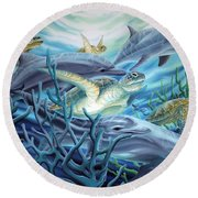 Fins And Flippers Round Beach Towel