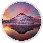 Fire And Ice - Flatiron Reservoir, Loveland Colorado Round Beach Towel by Ronda Kimbrow