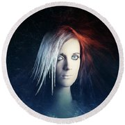 Fire And Ice Portrait Round Beach Towel