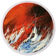 Fire And Lava Round Beach Towel