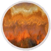 Fire And Stone Round Beach Towel