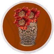 Fire Brick Flora Vase Round Beach Towel