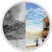 Round Beach Towel featuring the photograph Fire - Cliffside Fire 1907 - Side By Side by Mike Savad