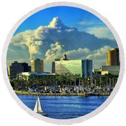 Round Beach Towel featuring the photograph Fire Cloud Over Long Beach by Mariola Bitner