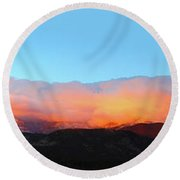 Fire Clouds - Panorama Round Beach Towel