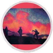 Fire Crew Round Beach Towel