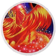 Fire Fairy Round Beach Towel